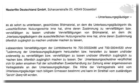 Masterfile-Abmahnung Unterlasungserklärung Waldorf-Frommer Rechtsanwälte