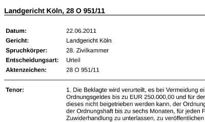 LG Köln 28 O 951/11 Abmahnkosten bei gleichen Abmahnungen